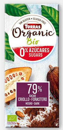 תמונה של טוראס שוקולד אורגני 79% רואו ללא סוכר טבעוני 100 ג'ר
