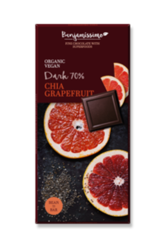 Picture of בנג'מסימו שוקולד אורגני טבעוני עם זירעי צ'יה 70% 70 ג'ר