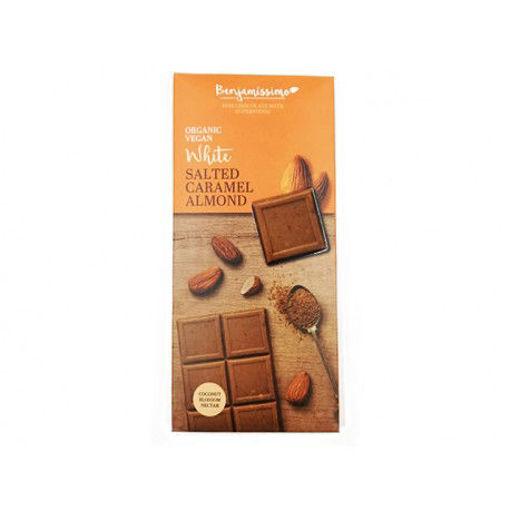 Picture of בנג'מסימו שוקולד אורגני טבעוני שקדים וקרמל מלוח 70 ג'ר